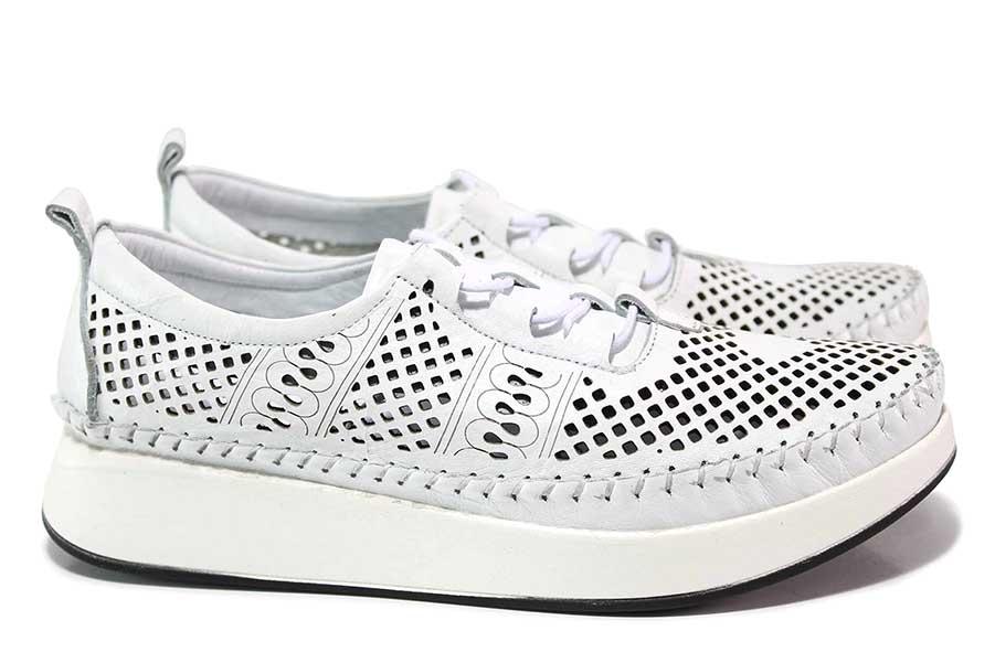 Равни дамски обувки - естествена кожа - бели - EO-18322