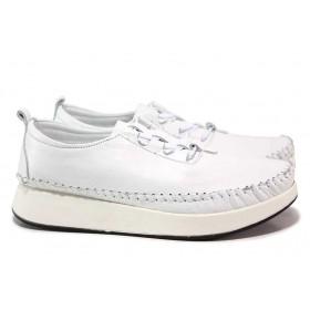 Равни дамски обувки - естествена кожа - бели - EO-18323