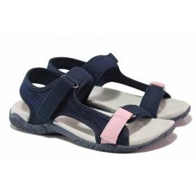 Юношески сандали - висококачествен текстилен материал - тъмносин - EO-18389