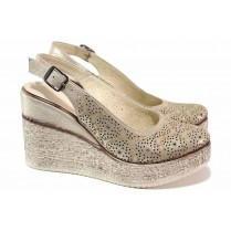 Дамски обувки на платформа - естествена кожа - бежови - EO-18431