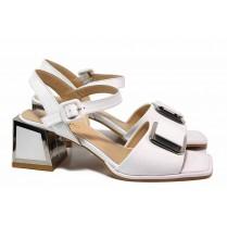 Дамски сандали - естествена кожа - бели - EO-18488