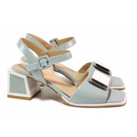 Дамски сандали - естествена кожа - зелени - EO-18487
