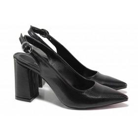 Дамски обувки на висок ток - еко кожа-лак - черни - EO-18482