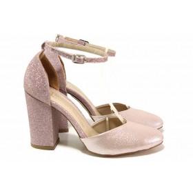 Дамски обувки на висок ток - висококачествена еко-кожа - розови - EO-18491
