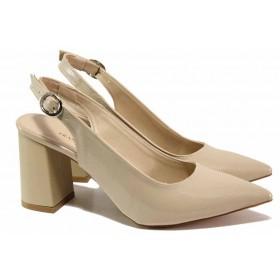 Дамски обувки на висок ток - висококачествена еко-кожа - бежови - EO-18492
