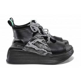 Дамски сандали - естествена кожа - черни - EO-18509
