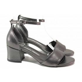 Дамски сандали - висококачествена еко-кожа - сиви - EO-18552