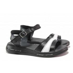 Дамски сандали - естествена кожа - черни - EO-18609