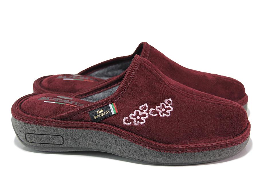 Домашни чехли - висококачествен текстилен материал - бордо - EO-17987