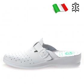 Дамски чехли - естествена кожа - бели - EO-18380