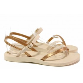 Дамски сандали - висококачествен pvc материал - бежови - EO-18462