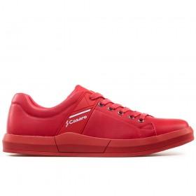 Мъжки маратонки - висококачествена еко-кожа - червени - EO-17922