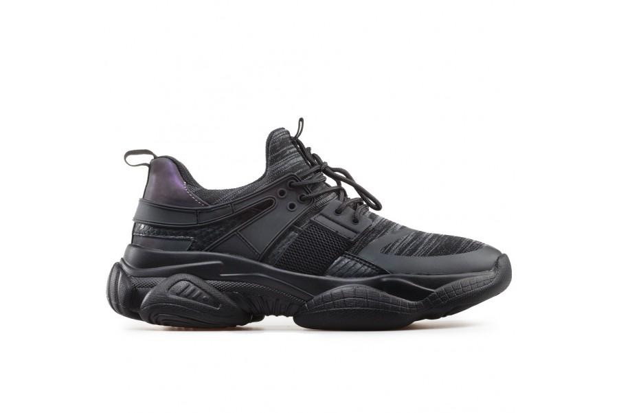 Мъжки маратонки - висококачествен текстилен материал - черни - EO-17918