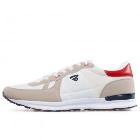 Спортни мъжки обувки - висококачествена еко-кожа и велур - бели - EO-17856