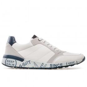 Спортни мъжки обувки - висококачествена еко-кожа - бели - EO-17869