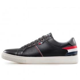 Спортни мъжки обувки - висококачествена еко-кожа - черни - EO-17884