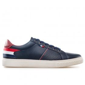 Спортни мъжки обувки - висококачествена еко-кожа - тъмносин - EO-17868