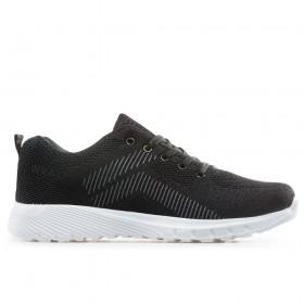Мъжки маратонки - висококачествен текстилен материал - черни - EO-18252