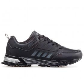 Спортни мъжки обувки - висококачествена еко-кожа - черни - EO-17877