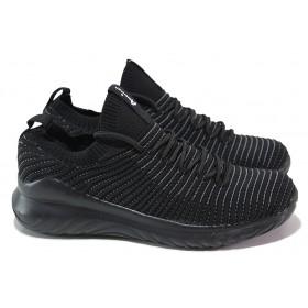 Дамски маратонки - висококачествен текстилен материал - черни - EO-17989