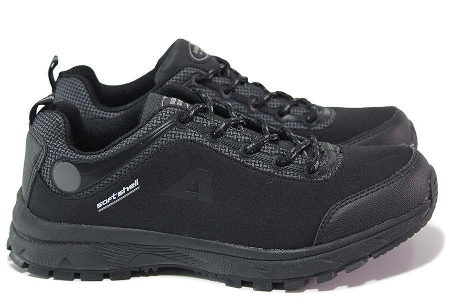 Юношески маратонки - висококачествен текстилен материал - черни - EO-17995