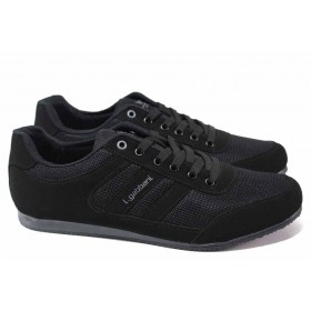 Спортни мъжки обувки - висококачествен текстилен материал - черни - EO-18029