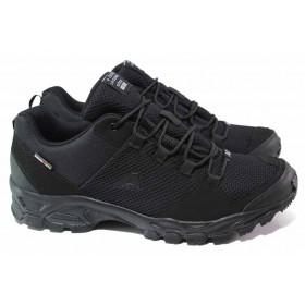 Мъжки маратонки - висококачествен текстилен материал - черни - EO-18049