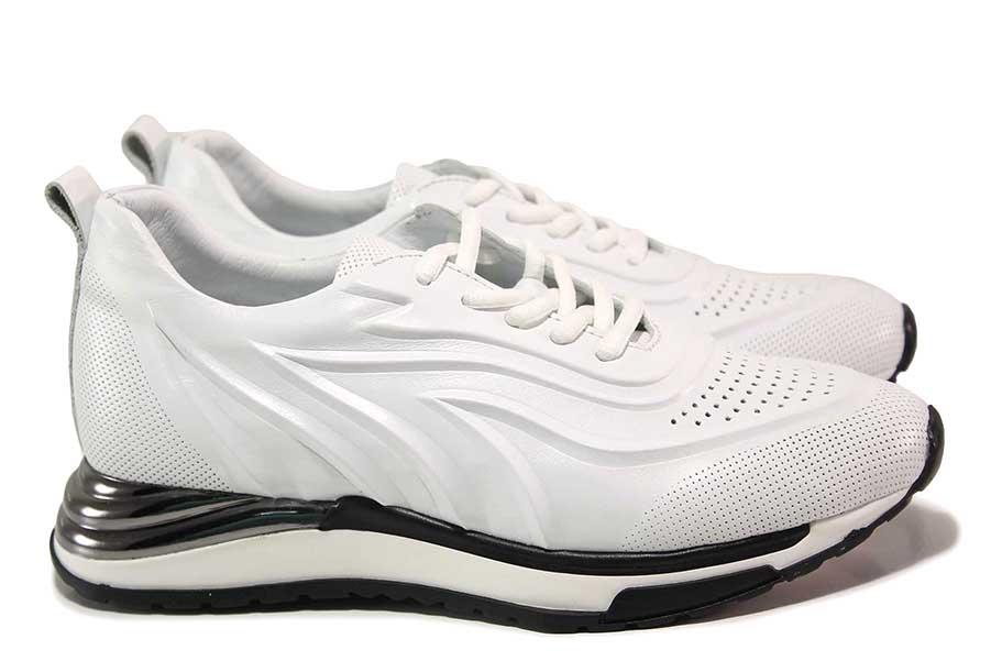 Дамски спортни обувки - естествена кожа - бели - EO-18132