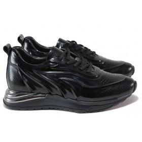 Дамски спортни обувки - естествена кожа-лак - черни - EO-18149