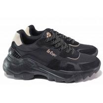 Дамски маратонки - естествен велур - черни - EO-18426