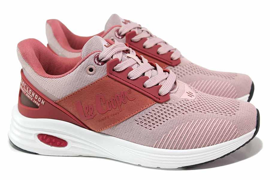 Дамски маратонки - висококачествен текстилен материал - розови - EO-18425