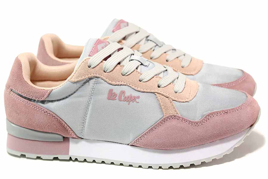 Дамски маратонки - естествен велур - розови - EO-18423