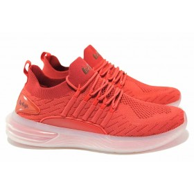 Мъжки маратонки - висококачествен текстилен материал - червени - EO-18414