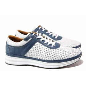 Мъжки обувки - естествена кожа с перфорация - бели - EO-18117
