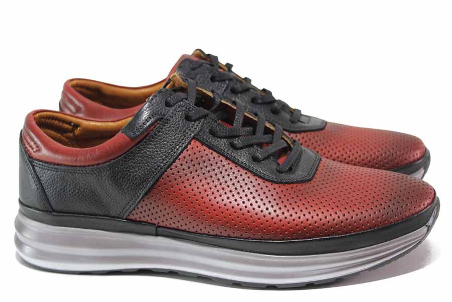 Мъжки обувки - естествена кожа - бордо - EO-18142