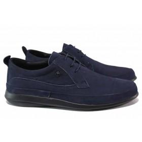 Мъжки обувки - естествен набук - тъмносин - EO-18202