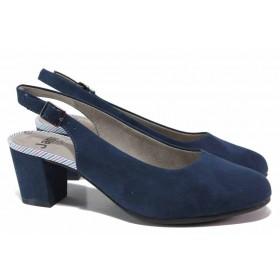 Дамски обувки на среден ток - висококачествен еко-велур - тъмносин - EO-17976