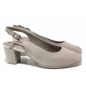 Дамски обувки на среден ток - висококачествен еко-велур - сиви - EO-17977
