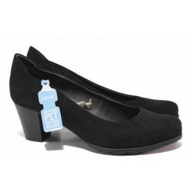 Дамски обувки на среден ток - висококачествен еко-велур - черни - EO-17980