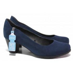 Дамски обувки на среден ток - висококачествен еко-велур - тъмносин - EO-17979