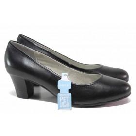 Дамски обувки на среден ток - естествена кожа - черни - EO-17981