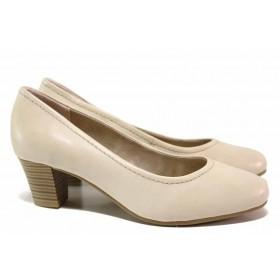 Дамски обувки на среден ток - естествена кожа - бежови - EO-17982