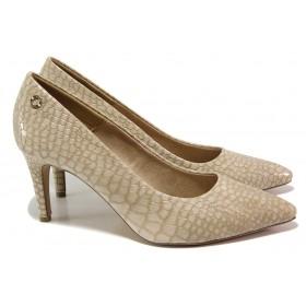 """Дамски обувки на висок ток - еко-кожа с """"кроко"""" мотив - бежови - EO-17999"""