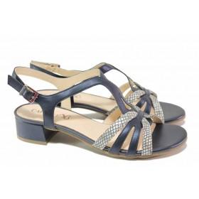 Дамски сандали - естествена кожа - тъмносин - EO-18000