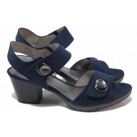 Дамски сандали - висококачествен еко-велур - тъмносин - EO-18002
