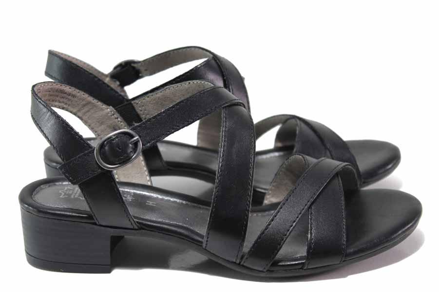 Дамски сандали - естествена кожа - черни - EO-18007
