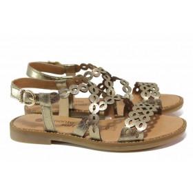 Дамски сандали - висококачествена еко-кожа - жълти - EO-18123