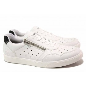 Спортни мъжки обувки - висококачествена еко-кожа - бели - EO-18124