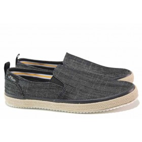 Мъжки обувки - висококачествен текстилен материал - черни - EO-18145