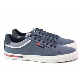 Спортни мъжки обувки - висококачествен текстилен материал - тъмносин - EO-18155